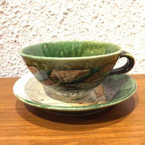 今織部落書きプレートスープ碗3 林英樹 2018.11.21 かかや春日部 陶器 織部 料理教室