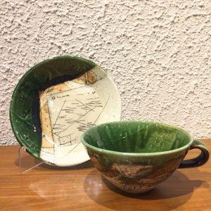 今織部落書きプレート2 スープ碗 林英樹 2018.11.21 かかや春日部 陶器 織部 料理教室