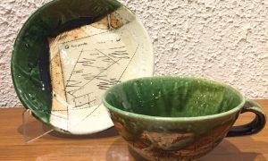 今織部落書きプレート スープ碗 林英樹 2018.11.21 かかや春日部 陶器 織部 料理教室
