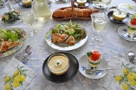 冷製コーンスープ かかや春日部 かかやクラブ 料理教室 クッキングサロン
