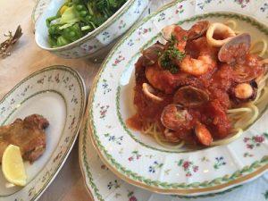 魚介のスパゲティ イタリアン かかや春日部 クッキングサロン 料理教室