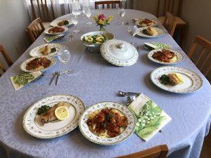 2019.5 ベーシッククラス 魚介のパスタ ランチ全体 かかや春日部 クッキングサロン 料理教室